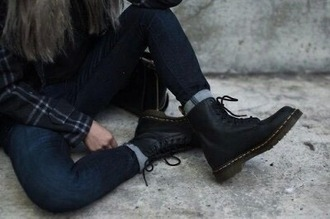 shoes boots flannel grunge combat boots booties trendy