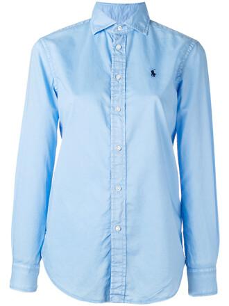shirt women classic cotton blue top