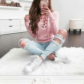 sweater,pink,pastel,pastel pink,lace up,laced up sweater,blouse,lace up top,jeans,jeggings,holey skinny jeans,shoes,adidas