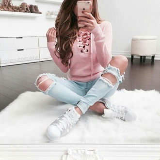 sweater pink pastel pastel pink lace up laced up sweater blouse lace up top jeans jeggings holey skinny jeans shoes adidas