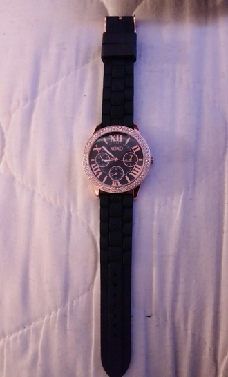 jewels quartz xoxo wristwatch rose gold watch analogue black watch crystal embellishment