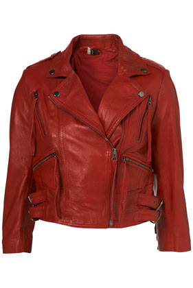Premium red fringed leather biker jacket