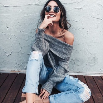 sweater grey sweater off the shoulder loose fit sweater ripped jeans cute outfits sunglasses