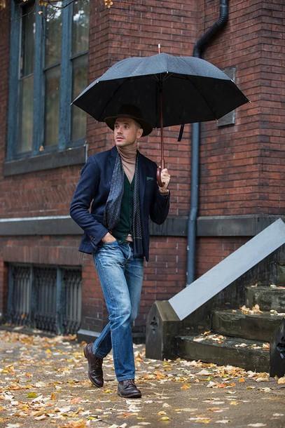 He Spoke Style Blogger Jeans Scarf Jewels Umbrella
