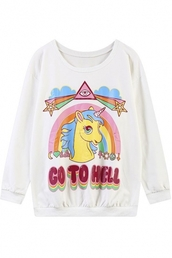 sweater,go to hell,unicorn,pink unicorn,rainbow