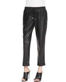 SW3 Bespoke Amy Perforated Faux-Leather Drawstring Pants, Black