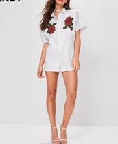 blouse,embroidered,girly,white,white top,button up