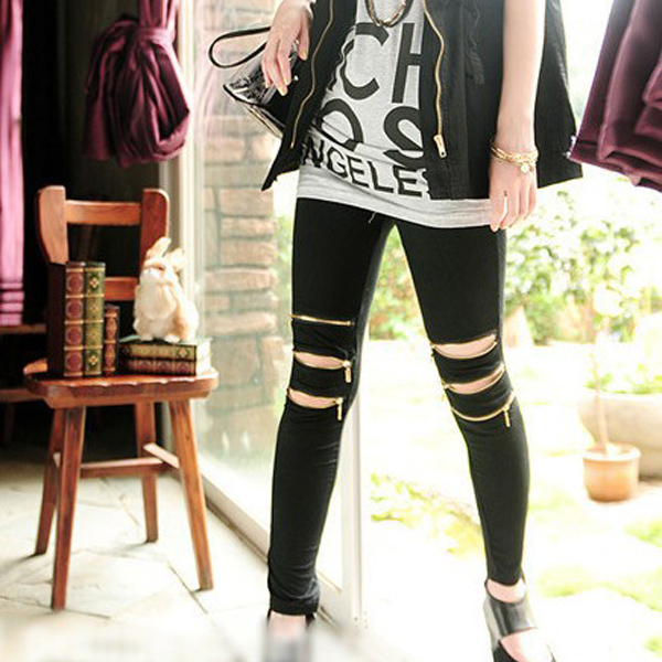 SN1038 New 2014 Sport Leggings With Zip Wholesale Black Leather Leggins Fitness Clothing for Women-in Legging from Apparel & Accessories on Aliexpress.com