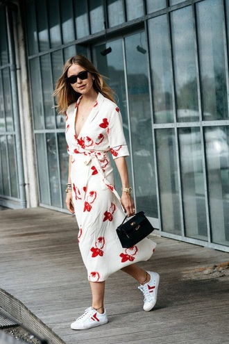 dress midi dress wrap dress printed dress sneakers white sneakers low top sneakers spring outfits