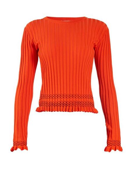 Altuzarra - Malou Ruffled Cuff Ribbed Knit Sweater - Womens - Orange