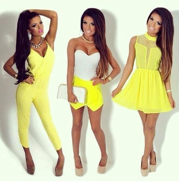 dress yellow dress white top skirt shoes pants t-shirt