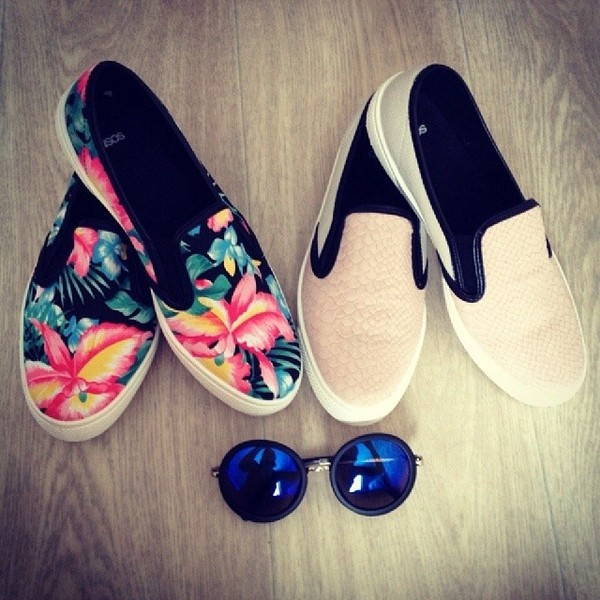 shoes flowers leather plimsolls