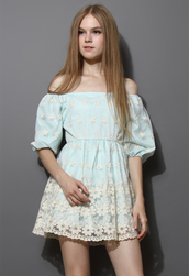 dress,floral,embroidered,organza,mint,blue,mint blue