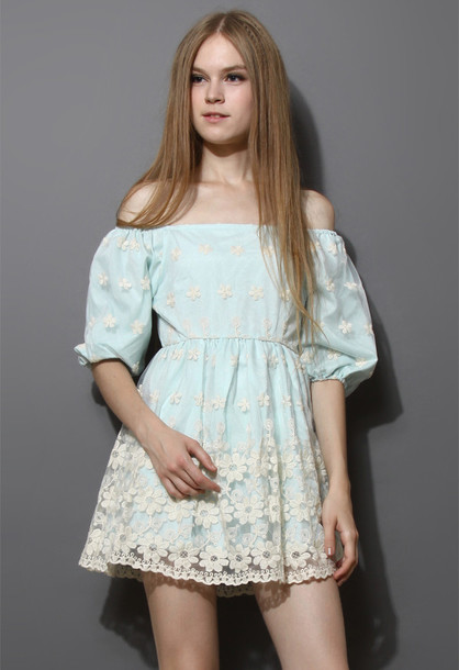 dress floral embroidered organza mint blue mint blue