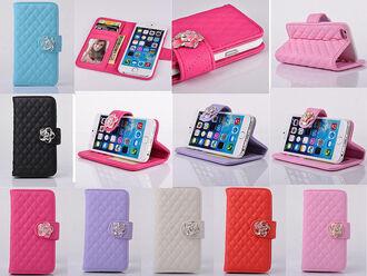 phone cover pu leather crystal phone case iphone 6 plus case purse fashion black