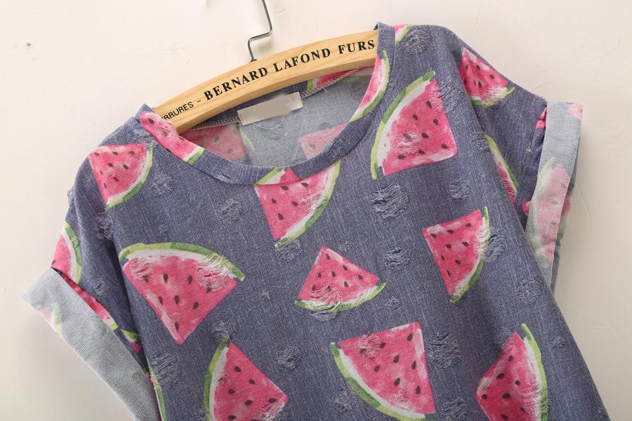 T-Shirt mit Wassermelone Muster, blau-Sheinside