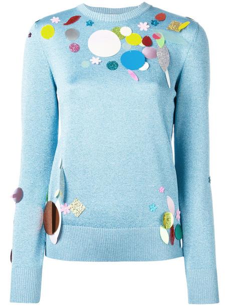 CHRISTOPHER KANE sweater metallic women blue wool