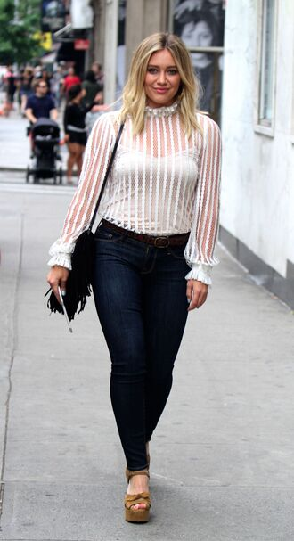blouse jeans skinny jeans sandals see through hilary duff shoes platform sandals see through top