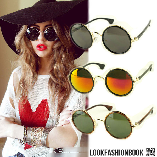 12Colors Fashion Round Trendy Vintage Lady Gaga Retro Celeb Women Men Sunglasses | eBay
