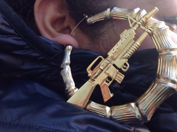 jewels jewelry gold gun thug life gold hoop earrings machine gun earrings