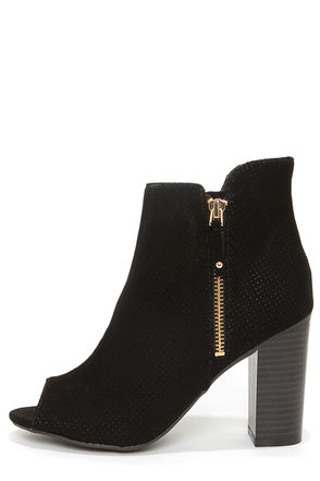 Bamboo Abbatha 13 Black Nubuck Perforated Peep Toe Booties