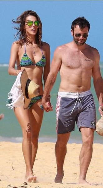 swimwear bikini bikini top bikini bottoms alessandra ambrosio summer beach