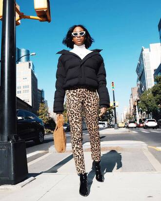 pants tumblr reformation leopard print printed pants boots black boots jacket black jacket puffer jacket bag sunglasses white sunglasses cat eye
