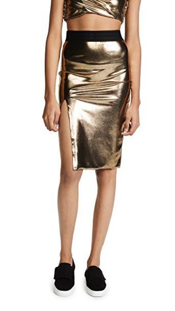 Baja East skirt midi skirt midi slit gold