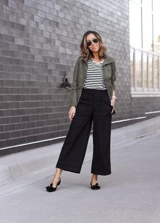 pants black pants culottes black culottes top striped top jacket green jacket sunglasses shoes black shoes flats