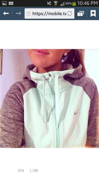 jacket nike sweater mint grey zip long sleeves running