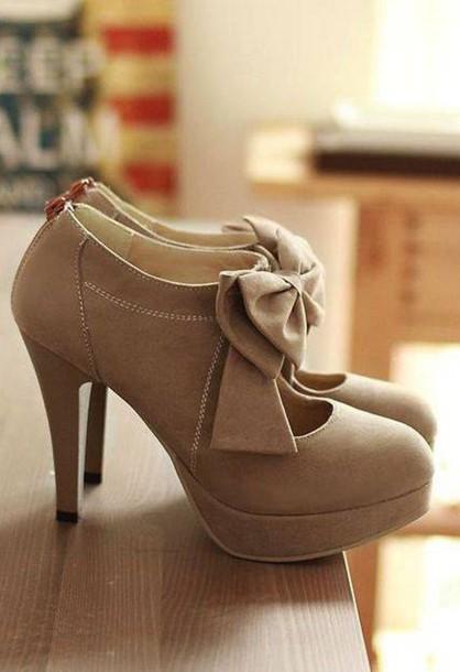 95deef178bd beige heels bow high heels bows shoes cute shoes cute brown shoes tan tan  heels high