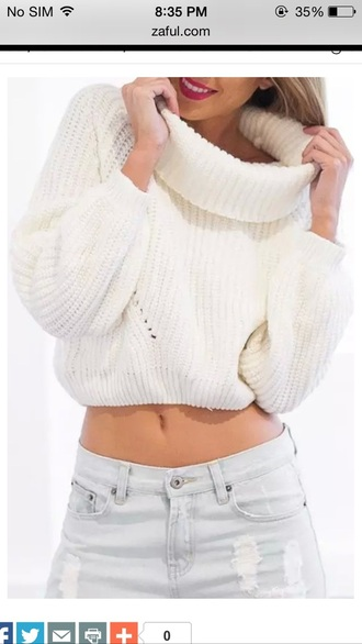 sweater oversized turtleneck sweater cropped crop tops white knit knitwear cropped sweater oversized turtleneck choies high roll neck white knit sweater long sleeves ribbed trim lookbook store dream closet couture white sweater loose top fall outfits sexy sexy sweater sexy girl girly women retro fashionista fashion