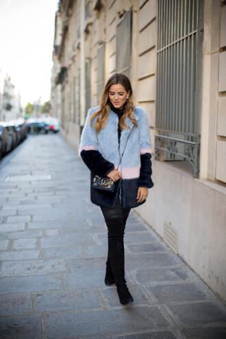 gal meets glam blogger fur coat light blue blue fluffy coat fluffy chanel chanel bag over the knee boots boots black boots printed fur coat