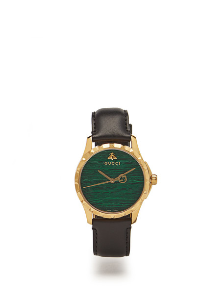 gucci leather watch watch leather green jewels