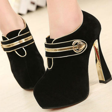 NativeAfrika: Charming Buckle Color Block Ankle Boots