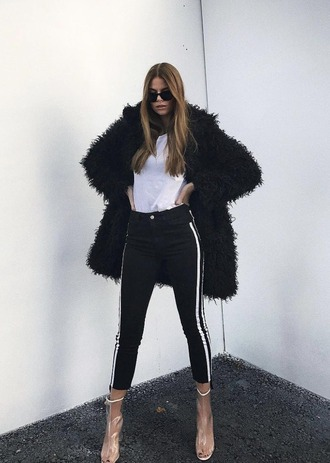 coat black jacket na-kd jacket fur coat faux fur faux fur jacket fall outfits