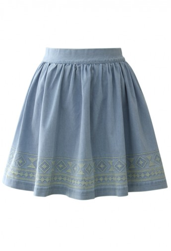 Aztec Stitch Denim Skater Skirt in Light Blue - Retro, Indie and Unique Fashion