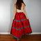 Vintage ethnic boho skirt, red blue sequins and gemstones full skirt, indian skirt, hippie skirt, bohemian gypsy