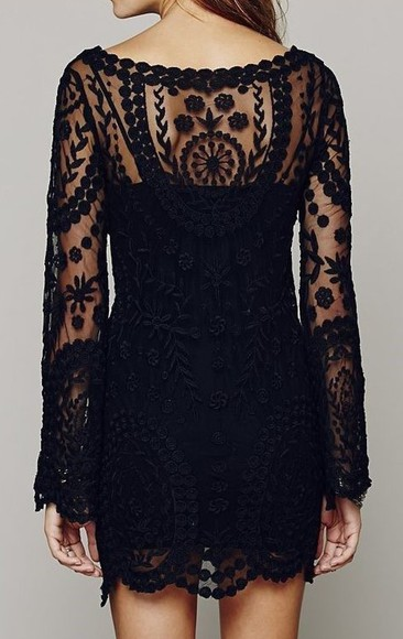 see through black lace dress casual dress hipster