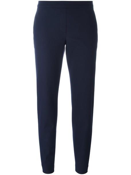cropped women spandex cotton blue pants