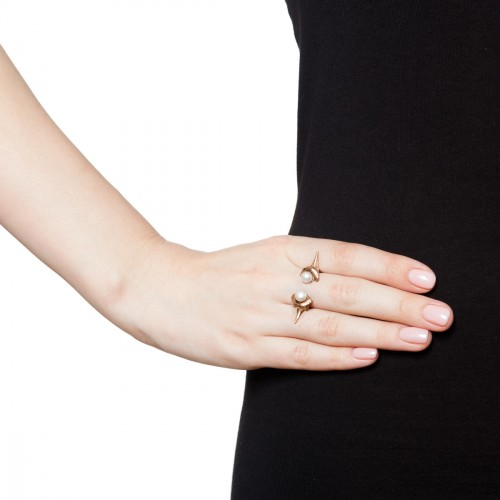 Blacktip pearl ring-gold