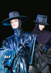 hat,black,coat,rain coat,blue,metallic,waisted,high waisted