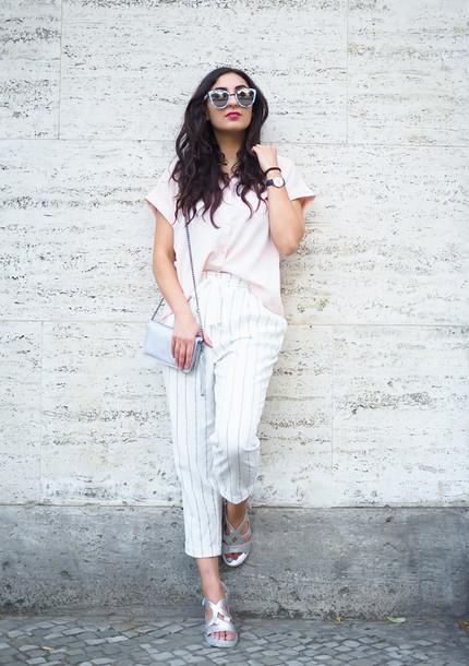 samieze blogger pants blouse bag shoes Silver sandals