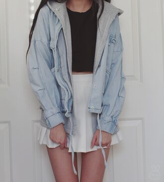 jacket cute jacket light blue jacket gray jacket black top black crop top crop tops white skirt skirt american appparel tumblr tumblr outfit tumblr skirt tumblr jacket tumblr top tumblr girl cute stylish style trendy blogger fashionista chill rad casual pale outfit idea fashion inspo outfit fashion pale grunge on point clothing coat blue pretty wow beautifull