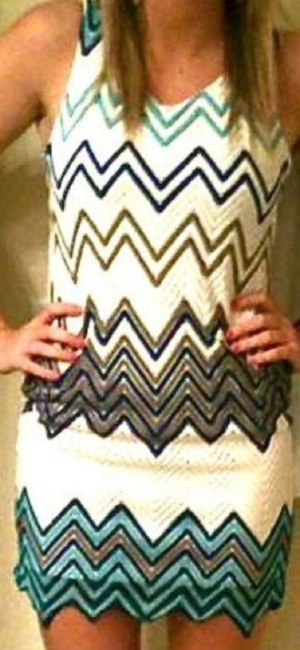 dress teal teal and white dress zig zag pattern