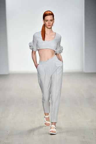 pants top crop tops karla spetic fashion week sydney fashion week runway model grey