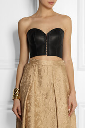 tank top,kiki de montparnasse,leather bustier,bustier,leather,skirt,dolce and gabbana,midi skirt,bracelets,cuff,balmain,gold,jewels