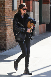 jacket,acne studios,black jacket,leather jacket,black leather jacket,shearling jacket,shearling,denim,jeans,black jeans,boots,black boots,ankle boots,sunglasses,dakota johnson