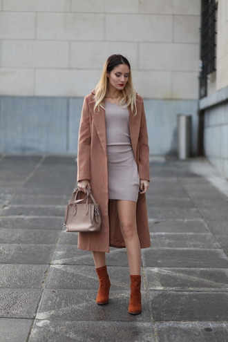 from brussels with love blogger shoes bag coat dress fall outfits handbag nude bag nude coat mini dress ankle boots