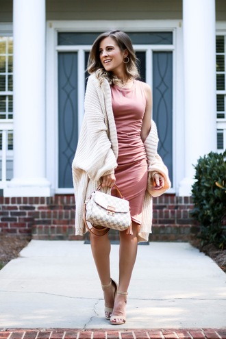thedaintydarling blogger dress cardigan shoes jewels sandals pink dress louis vuitton bag fall outfits